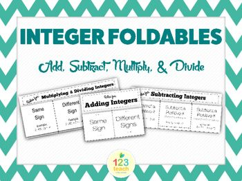 This file includes three great foldables to be used for teaching Integer Operations!  Adding Integers, Subtracting Integers, Multiplying and Dividing Integers Foldables are Included.  Great for 7th grade math introduction to integers!