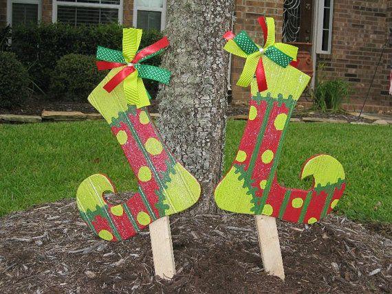 Jolly Elf Stockings Christmas Yard Art by WildeWoodTreasures, $35.00