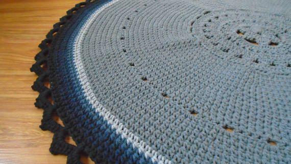 Round gray doily crochet rug crochet carpet by CrochetFolkArt