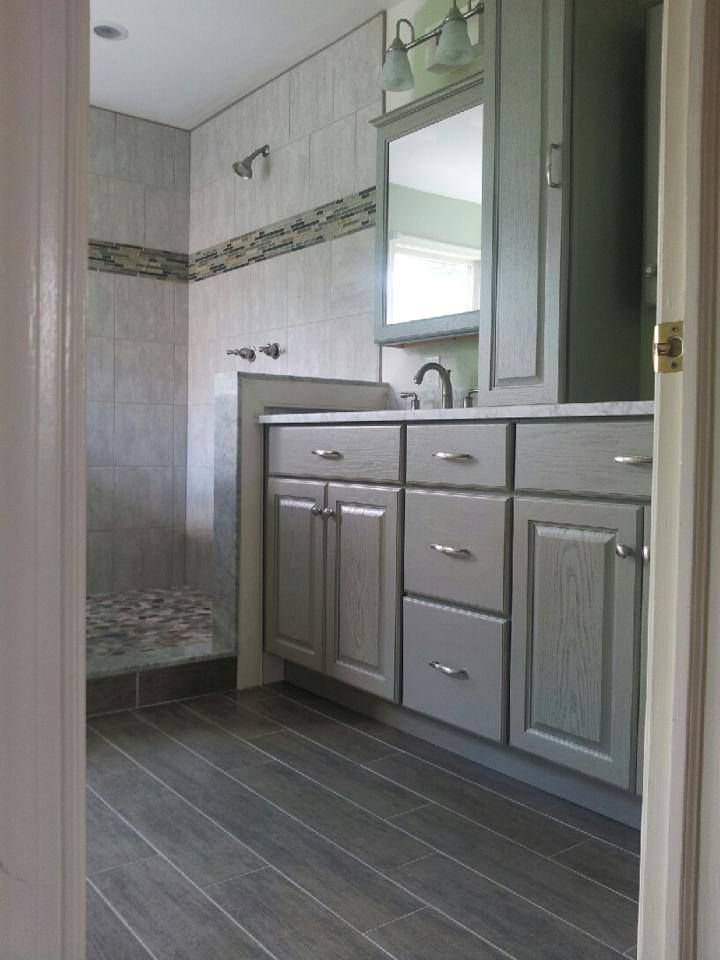 gray spa bath wood look tile  wood tile bathroom