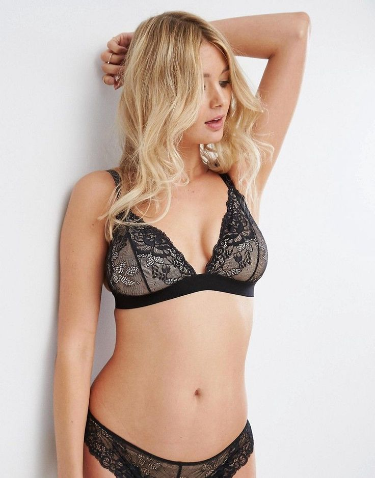 ASOS FULLER BUST Mix & Match Ria Lace Triangle Bra - Black