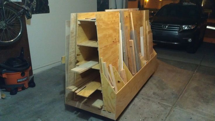 This SketchUp file can be found on myPlans & Designspage. Since I work on most of my projects in the garage, I am always fighting for more space. I always stacked my wood up against the wall …
