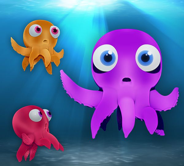 3D Octopus | Cartoon character design by M. Dahish, via Behance