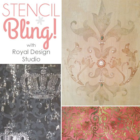 Embellishing Stenciled Walls with Glitz, Glass, and Glamour | Royal Design Studio