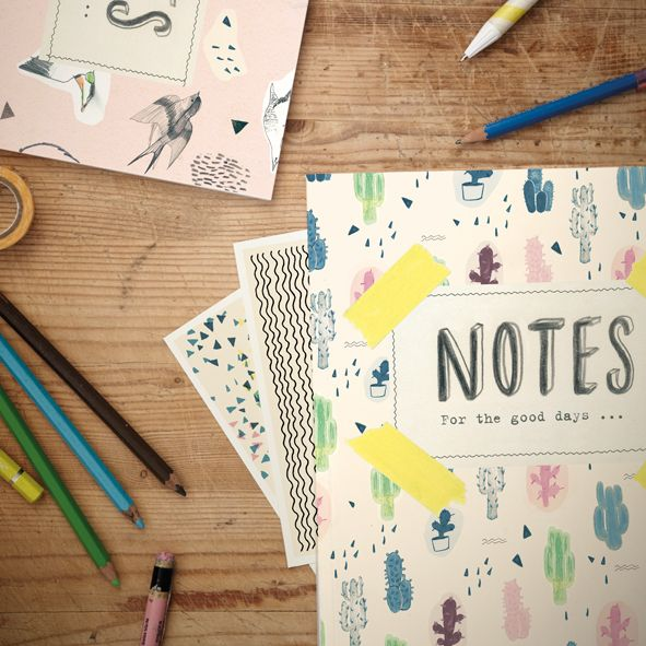 """Notebook """"For the good days"""" & 4 cards, made by Betina Helles"""