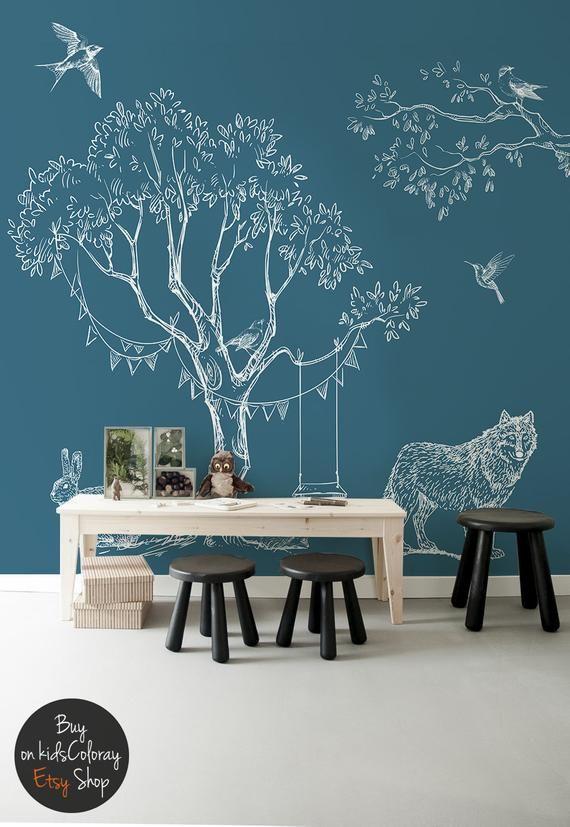 Skizzengedeckte Waldtiere Vogel Auf Asten Frettchen Blaue Etsy Blue Wallpapers Murals For Kids Kids Wall Decals