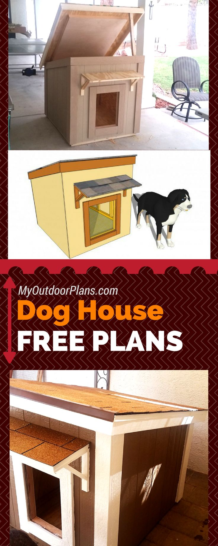 Free plans for you to build a large dog house! Step by step instructions and free dog house plans so you can get the job done quickly! #diy myoutdoorplans.com