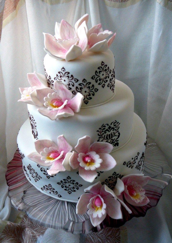 Торт свадебный Розовые орхидеи