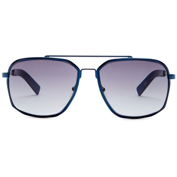 Karl Lagerfeld Women's Navigator Sunglasses ($50) ❤ liked on Polyvore featuring accessories, eyewear, sunglasses, satin blue, uv protection glasses, gradient sunglasses, blue lens sunglasses, karl lagerfeld and lens glasses
