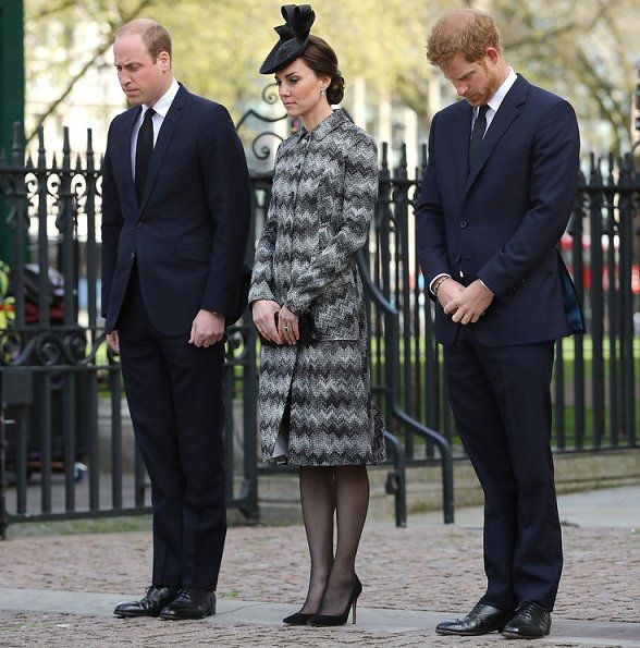 Prince William, Catherine, Duchess of Cambridge and Prince Harry attend the Service of Hope at Westminster Abbey on April 5,2017 in London. The multi-faith Service of Hope was held for the four people killed when Khalid Masood committed an act of terror in Westminster on Wednesday March 22.