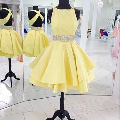Round Neck Yellow Homecoming Dress Women Beading Short Prom Dress  on Luulla