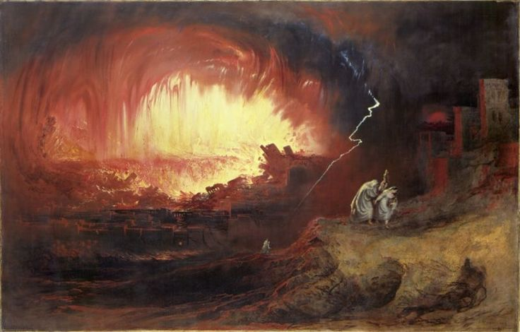 John Martin represents Lot and family fleeing the wrath of God on Sodom and Gomorrah. Lot fled to the mountains, his wife dying on the way. The cities of the Plain were never seen again.