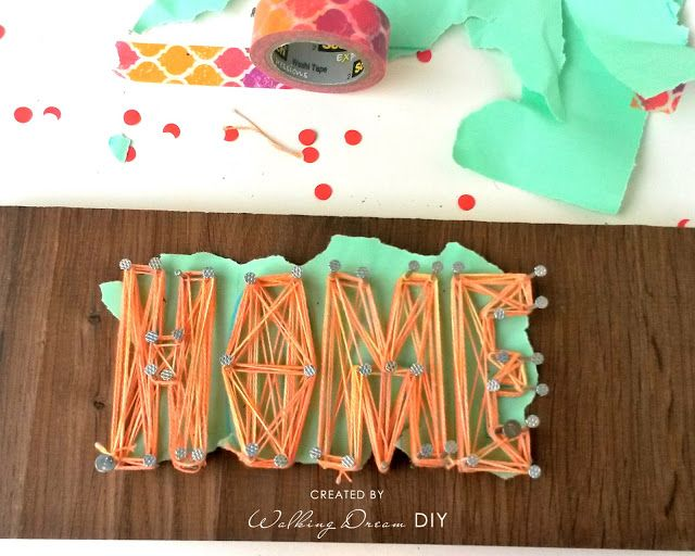 """String Art """"HOME"""" how to do it - DIY. Wood, String & Nails"""