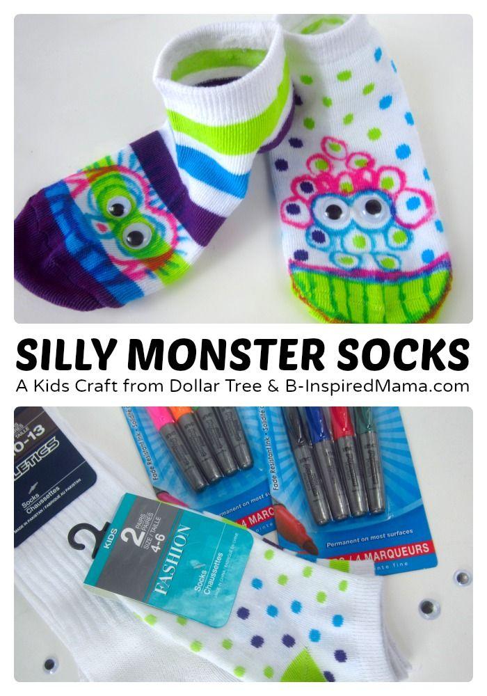 Silly Socks Monster Craft - Turn your socks into monster feet!