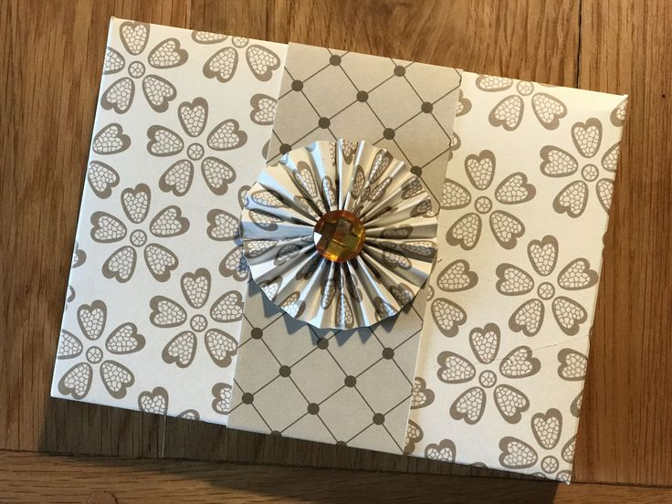 Envelope 'box of cards' with pinwheel & jewel embellishment