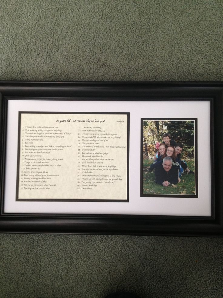 "Birthday gift from my family on my 40th! ""40 Reasons Why We Love You"", framed with a fantastic picture of my hubby and kiddos!"