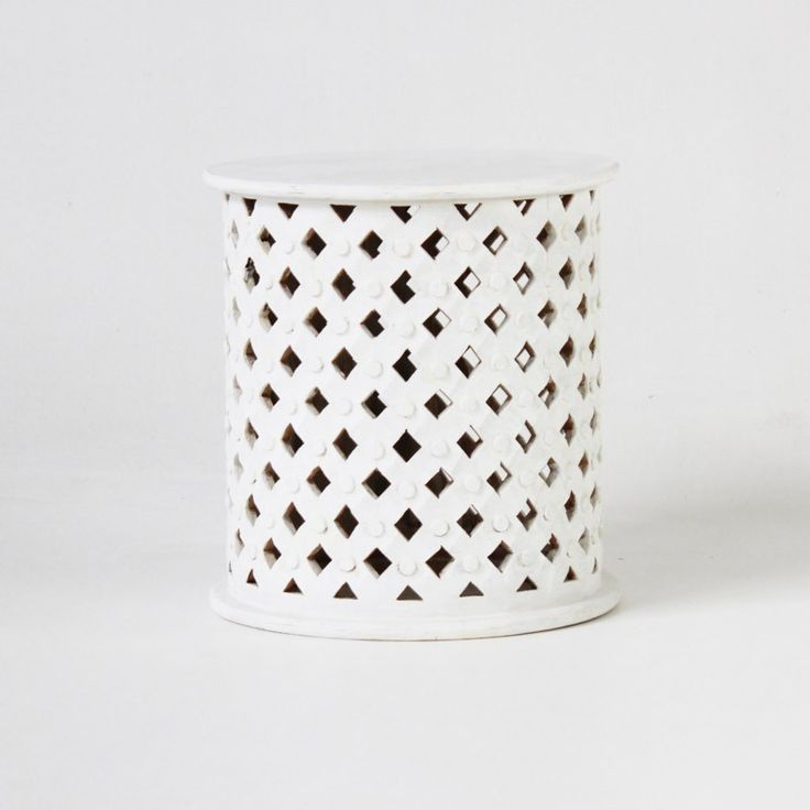 Indian round side table with carving in white - Eclectic Style Noosa