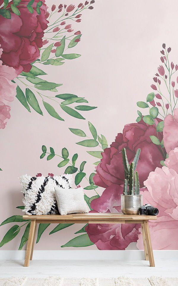 Papier Peint Fleurs Geantes Roses A L Aquarelle In 2020