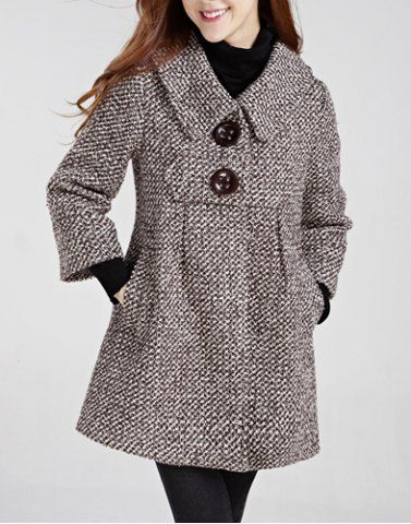 Stylish Turn-Down Collar Houndstooth Long Sleeve Women's Woolen Coat