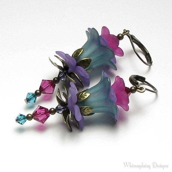 Floral Fairy Turquoise Green Fuchsia Purple by whimsydaisydesigns, $24.00
