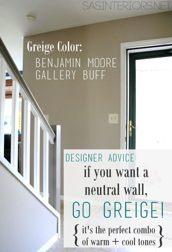 Designer Advice: If you want a neutral wall color, go with Greige!  It's the perfect combo of warm + cool tones. Top 10 Greige Paint Colors for Walls by Jenna Burger Design, www.jennaburger.com