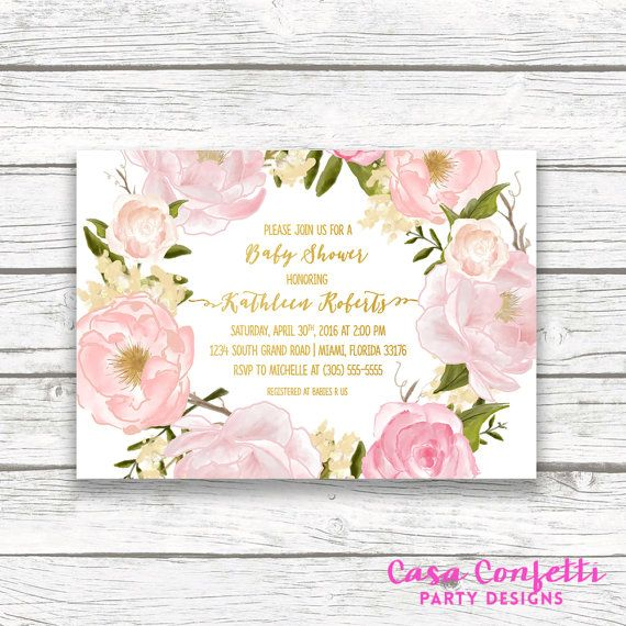Pink Floral Wreath Baby Shower Invitation Gold by CasaConfetti