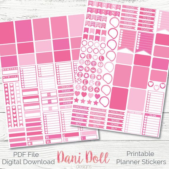 Pink Princess Weekly Planner Stickers Colourful 2 Sheets Printable Girls Sticker Pack PDF Instant Download Erin Condren Mambi by danidolldesignsx