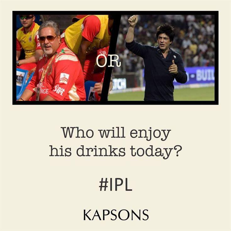 Whom do you support? #IPL #KKR #RCB #ShahrukhKhan #VijayMallya #IPL2015 #Cricketmania #Kapsons #KKRVsRCB
