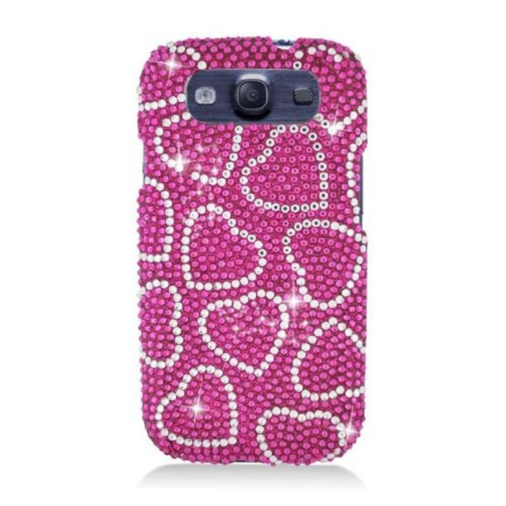 Insten Hearts Hard Snap-on Rhinestone Diamond Bling Case Cover For Samsung Galaxy S3 #2317626