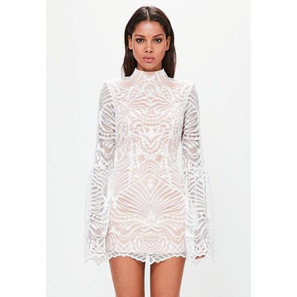 Missguided Peace + Love White Lace Flared Sleeve Bodycon Mini Dress ($126) ❤ liked on Polyvore featuring dresses, peach, short lace dress, short lace cocktail dress, white lace dress, white bodycon dresses and bodycon mini dress