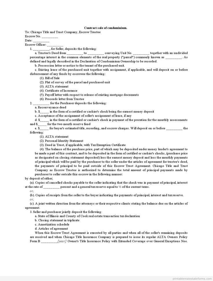 sample printable contract sale of condominium form sample real estate forms pinterest. Black Bedroom Furniture Sets. Home Design Ideas