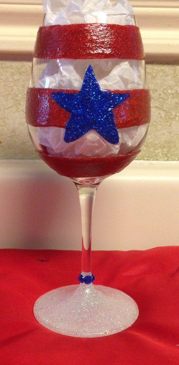 Patriotic Wine Glass with rhinestones by SparkledSpirits