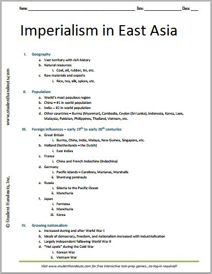 Imperialism in East Asia - Free Printable World History Outline
