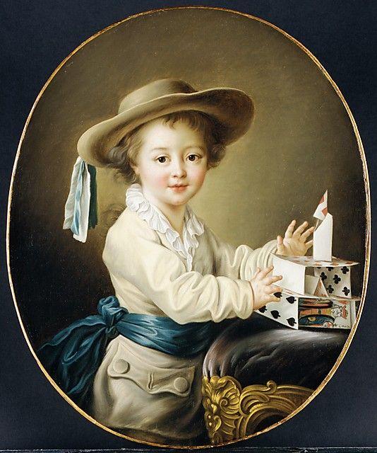 Boy with a House of Cards François Hubert Drouais (French, Paris 1727–1775 Paris) Medium: Oil on canvas Dimensions: Oval, 28 x 23 in. (71.1 x 58.4 cm) (not primitive, rather a portrait)