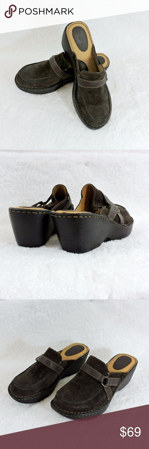 """NEW LISTING! BOC BORN Suede Slip-on Clogs. SZ 9 A combination of genuine leather and buckle accents define this essential slip-on clog.  Best worn with your favorite pair of jeans, these very cool BORN clogs are ready for a day of casual comfort and style. Heel height: 2"""" Size: 9 Condition: Flawless, NWOT Born Shoes"""