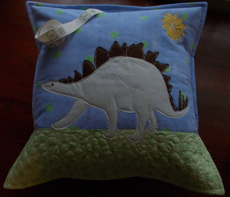 Personalised Dino Cushion with raw edge applique and free motion quilting