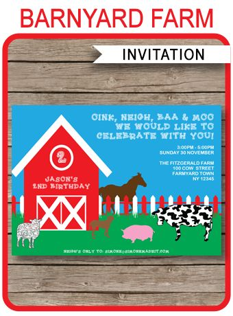 INSTANT DOWNLOADS of this FREE Barnyard Farm Invitation template! Personalize it by typing in your own text easily at home using Adobe Reader. Download Now!