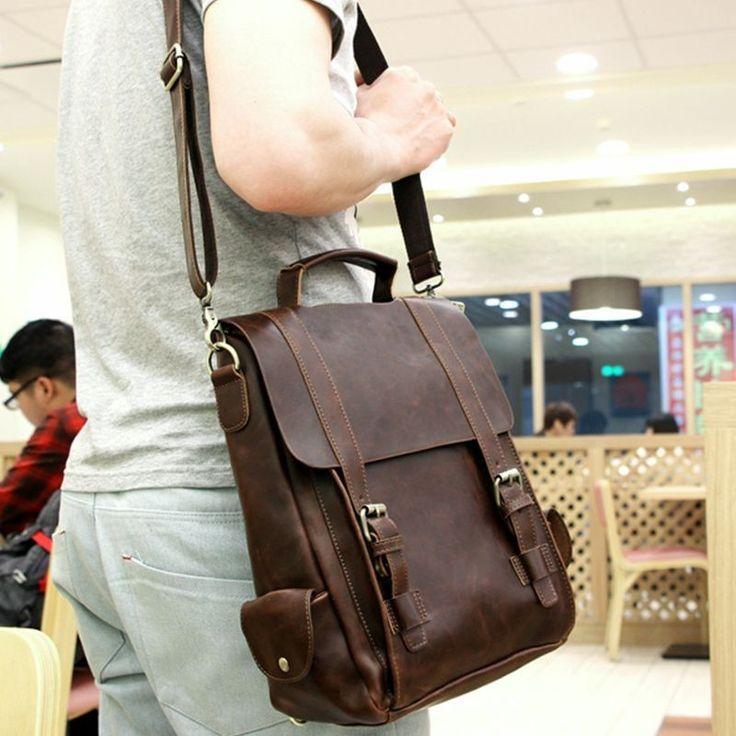 2014-es Évjárat desisgn Férfi bőr táskák/ Ál őrült ló PU bőr férfi többcélú hátizsák a Napi utazási hátizsák - Cipők, táskák, órák áruház