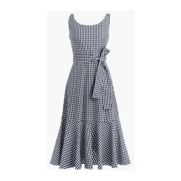 Gingham ruffle-hem dress ❤ liked on Polyvore featuring dresses, frilly dresses, below the knee dresses, frill hem dress, gingham print dress and frill dress