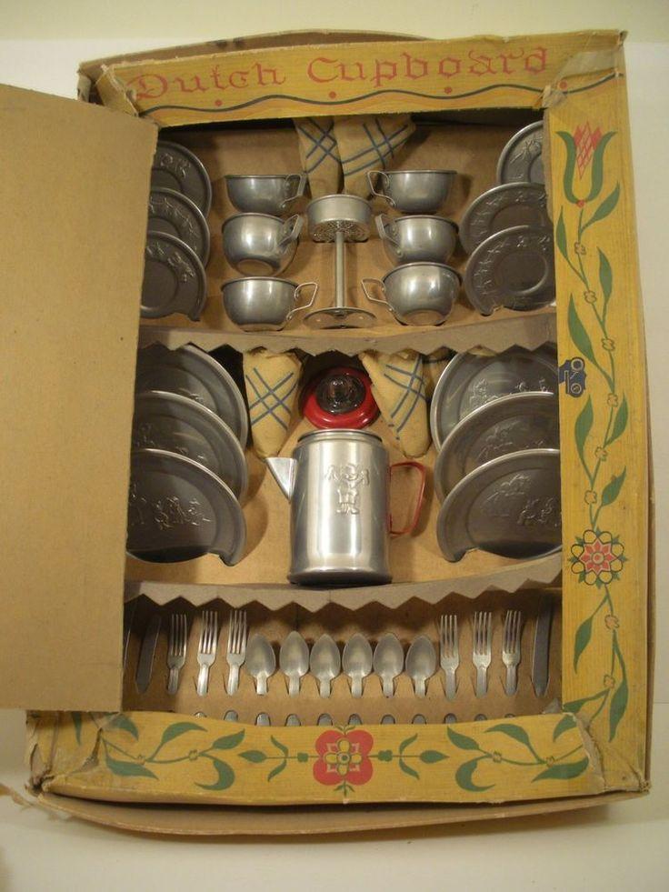 Vintage Childs aluminum Toy Dutch Cupboard complete Dish set  45 pieces w/ box