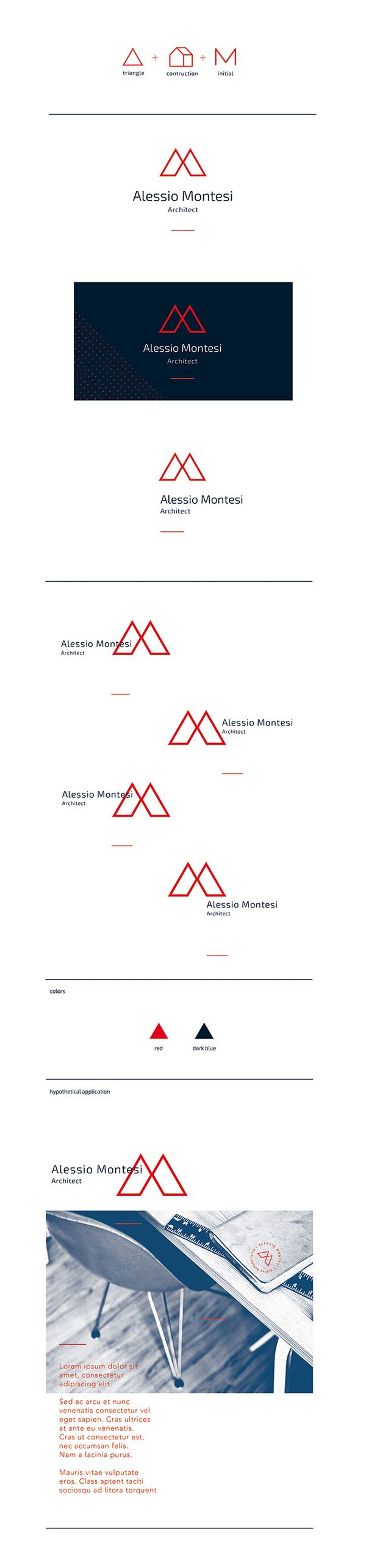 Studio logo and hypothetical graphics applications.I started working on the triangle, which is a stable and dynamic structure, the concept of structure which represents the architect job and the letter M, one of the initials of the brand.