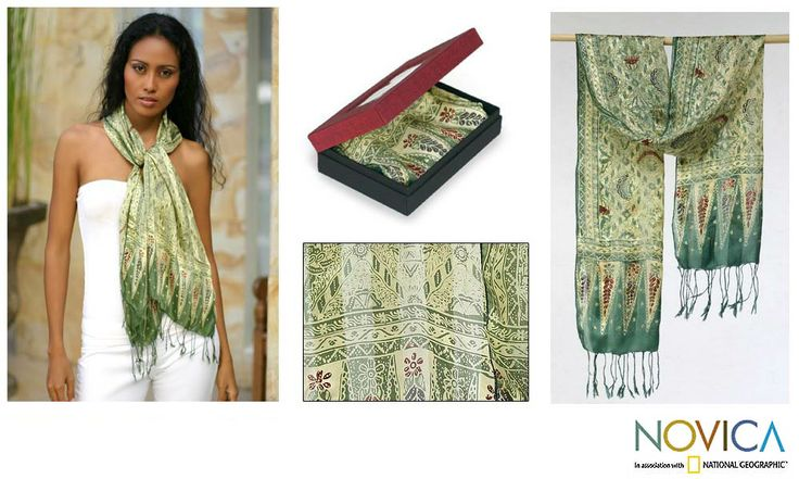 Add a touch of the exotic to your wardrobe with this stylish batik scarf. The 'Royal Java Green' apparel features shimmering shades of green and cream. The beautiful scarf is stamped with a batik motif.