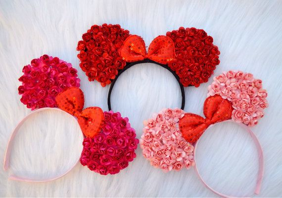 Floral minnie Mickey Mouse ears headband by SparklezBowtique