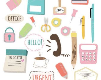 Kawaii Office Clipart - Stationary, Cute Clipart, Notebook, Paper, School Clipart, Envelope, Pencil, Pen, Free Commercial and Personal Use by Virtualcuteness