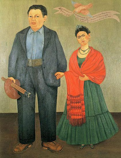 """Mexican culture and Amerindian cultural tradition are important in her work, which has been sometimes characterized as Naïve art or folk art. Her work has also been described as """"surrealist"""", and in 1938 André Breton, principal initiator of the surrealist movement, described Kahlo's art as a """"ribbon around a bomb""""."""
