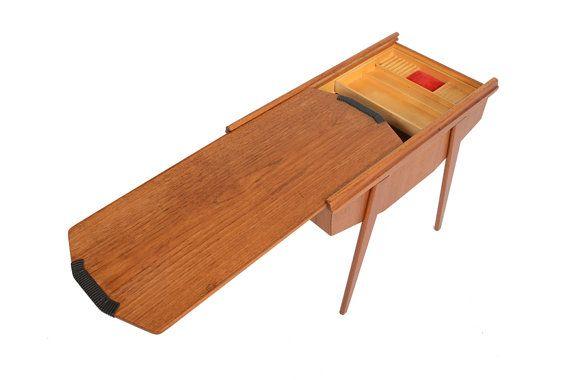 Danish Modern Sliding Top Teak Sewing Box von MidCenturyMobler, $525.00
