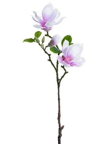 "Magnolia Silk Flower Spray in Pink Lavender - 31"" Tall"