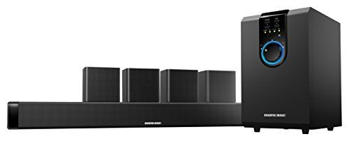 Sharper Image 5.1 Home Theater Sound System With Bluetooth Subwoofer, Sound Bar & Satellite Speakers (Black)  Be transported into the surround-sound experience right at home with the Home Theater Sound System by Sharper Image. This six-piece powerhouse emits 5.1-channel surround sound, creating a fully immersive listening experience with the sound bar, subwoofer, and wall-mountable satellite speakers. This home theater system connects directly to TVs of any size, or it can be used to..
