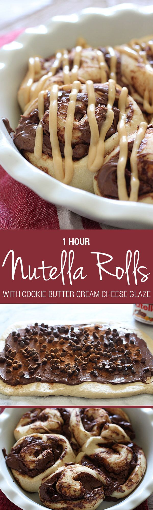 These Nutella Rolls have a Cookie Butter Cream Cheese Glaze and only take 1 HOUR to make!