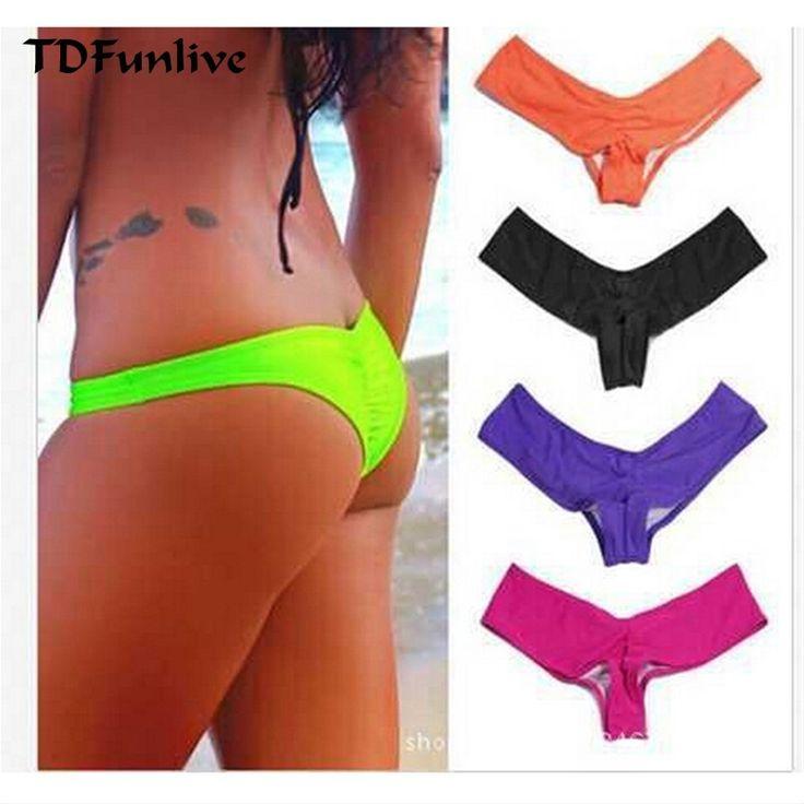 TDFunlive 2016 New V Shape Sexy Women Thong Bikini Biquines Brasileiros Biquini Panicat Moda De Praia Brazilian Bikini Bottom